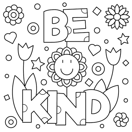 Ilustración de Be kind. Coloring page. Black and white vector illustration. - Imagen libre de derechos