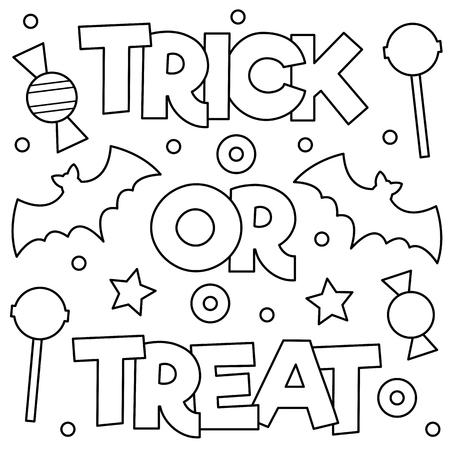 Ilustración de Trick or treat. Coloring page. Vector illustration. - Imagen libre de derechos