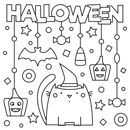 Illustration for Halloween. Coloring page. Vector illustration. - Royalty Free Image