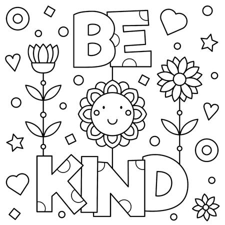 Ilustración de Be kind. Coloring page. Vector illustration. - Imagen libre de derechos