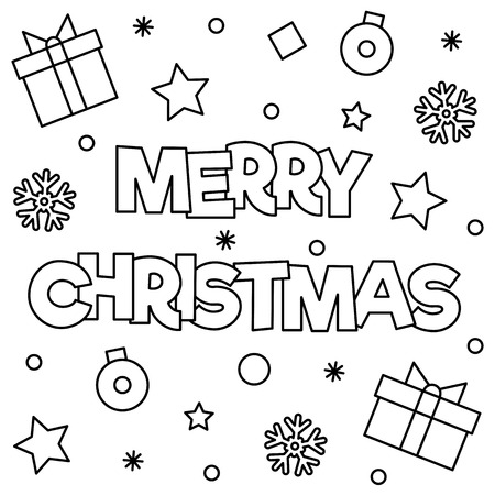 Illustration for Merry Christmas. Coloring page. Black and white vector illustration - Royalty Free Image