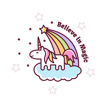 Illustration for Cute Magical Unicorn. Vector illustration. - Royalty Free Image