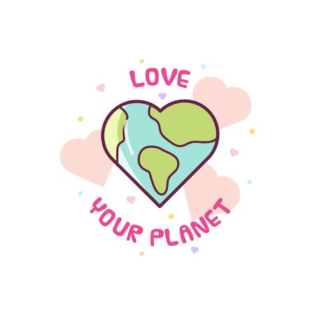 Illustration pour Love your planet. Vector illustration of Earth. - image libre de droit