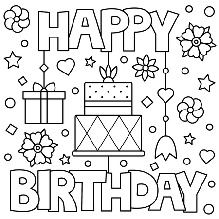 Illustration for Happy Birthday. Coloring page. Vector illustration. - Royalty Free Image