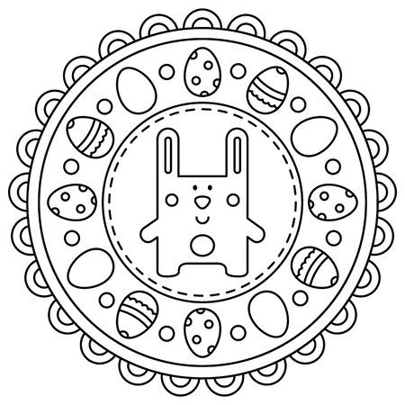 Ilustración de Easter mandala. Coloring page. Vector illustration. - Imagen libre de derechos
