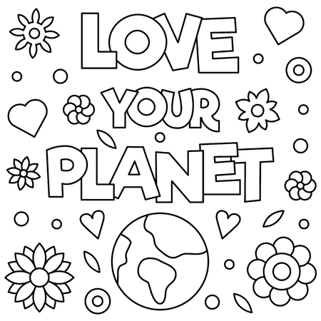 Illustration pour Love your planet. Coloring page. Vector illustration. - image libre de droit