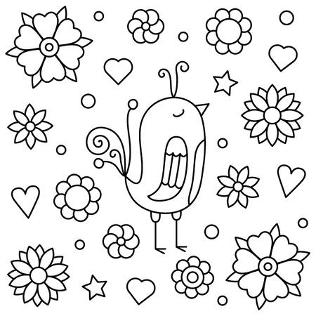 Illustration pour Coloring page. Vector illustration of a bird. - image libre de droit