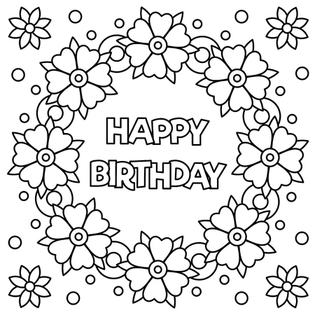 Illustration for Floral wreath for Coloring page with happy birthday. Vector illustration. - Royalty Free Image