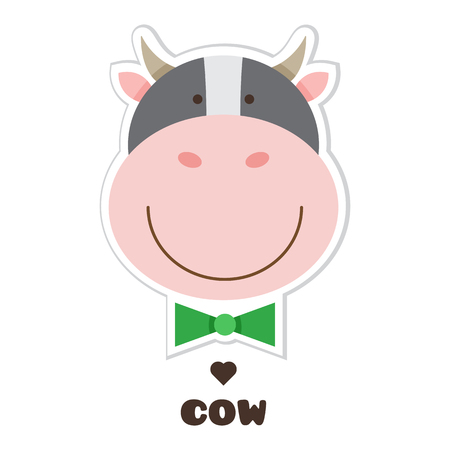 Illustration for Cow.. Vector illustration of head of Cow. Sticker - Royalty Free Image