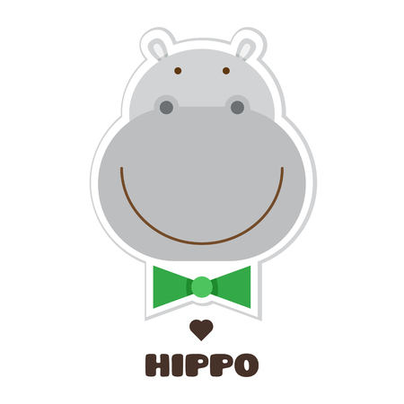 Illustration for Hippopotamus graphic design in cartoon Illustration. - Royalty Free Image