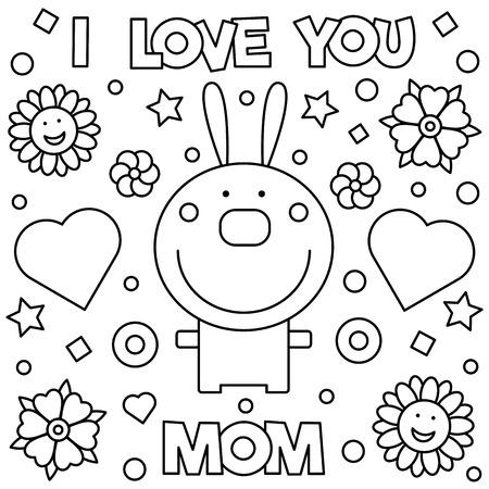 Ilustración de I love you mom coloring page illustration. - Imagen libre de derechos