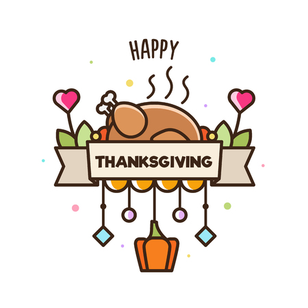 Illustration for Happy Thnksgiving. Banner. Vector illustration of turkey and pumpkin. - Royalty Free Image