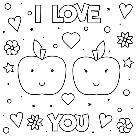 Illustration for I Love You. Coloring page. Black and white vector illustration of apples. - Royalty Free Image
