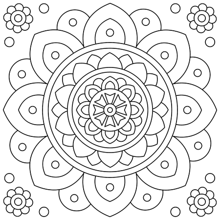 Ilustración de Flower. Mandala. Coloring page. Black and white vector illustration - Imagen libre de derechos