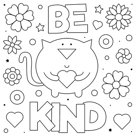 Ilustración de Be kind. Coloring page. Black and white vector illustration of a cat with a heart. - Imagen libre de derechos