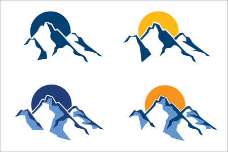 Illustration pour stylized mountain peaks in the background of the sun or moon - image libre de droit