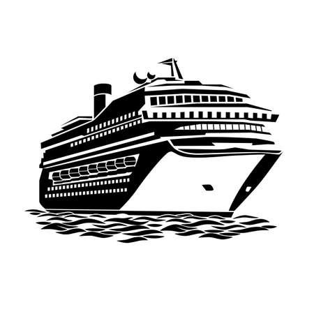 Illustration pour stylized illustration of a large cruise ship on the ocean waves - image libre de droit