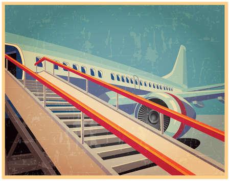 Photo pour Vector illustration on the theme of civil aviation. jet civil aircraft in vintage style - image libre de droit