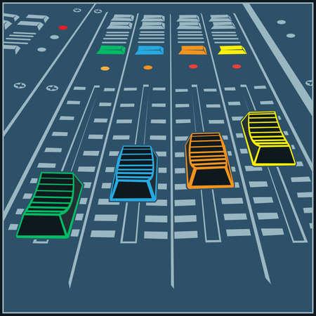 Illustration pour Stylized vector illustration on a studio sound recording theme. Mounting or DJ control panel, equalizer. - image libre de droit