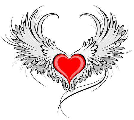 Illustration for artistically painted red heart with angel wings gray, decorated with black smooth contour.  - Royalty Free Image