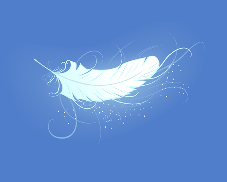 Illustration pour artistically painted, white, luminous feather angel on the blue background - image libre de droit