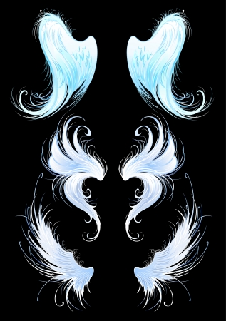 Illustration for artistically painted, bright blue, the wings of angels on a black background.  - Royalty Free Image