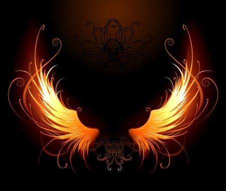 Illustration for artistically painted fiery wings on a black background  - Royalty Free Image
