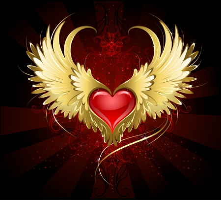 Illustration for bright red heart of an angel with golden wings shining in the dark radiant red background decorated with a pattern.  - Royalty Free Image