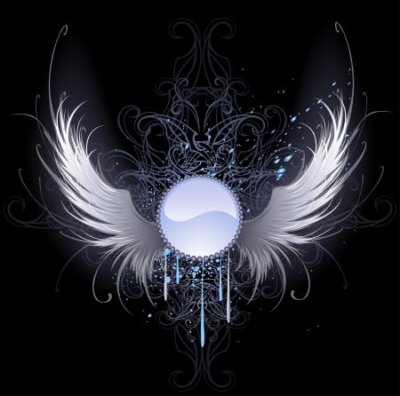 Illustration for round blue banner with artistically painted white angel wings on a black background decorated with a pattern and blue paint.  - Royalty Free Image