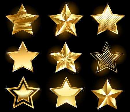 Illustration pour Set of gold, fine stars on a black background  - image libre de droit