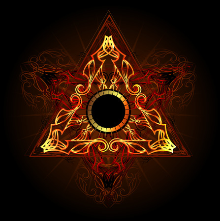 Illustration for fire triangle esoteric symbol on a black background - Royalty Free Image