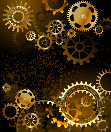 Illustration pour black background with gold and brass gears - image libre de droit