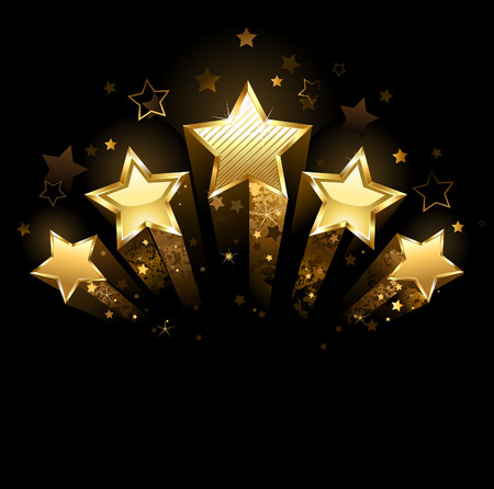 Illustration for Five shining stars of gold foil on a black background  - Royalty Free Image