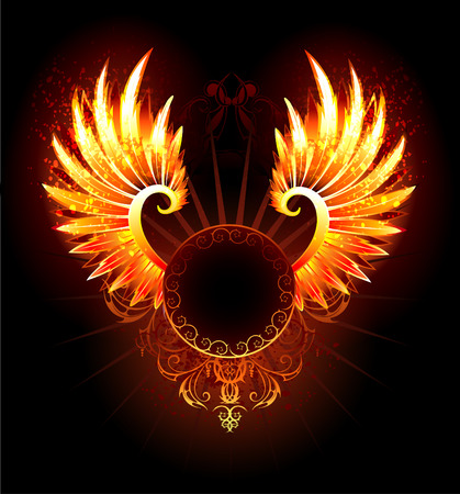 Illustration for artistically painted,  round banner with fiery phoenix wings on a black background. - Royalty Free Image