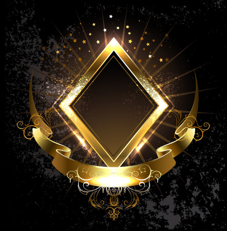 Illustration for rhombus golden banner with gold ribbon on black background. - Royalty Free Image
