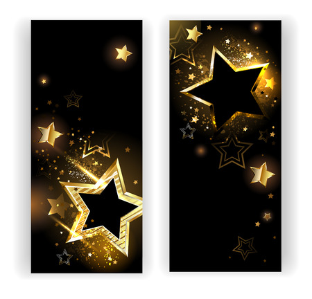 Illustration for two vertical banner with shiny gold stars on a black background. - Royalty Free Image