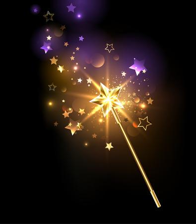 Ilustración de magic wand decorated with gold stars on a black background - Imagen libre de derechos