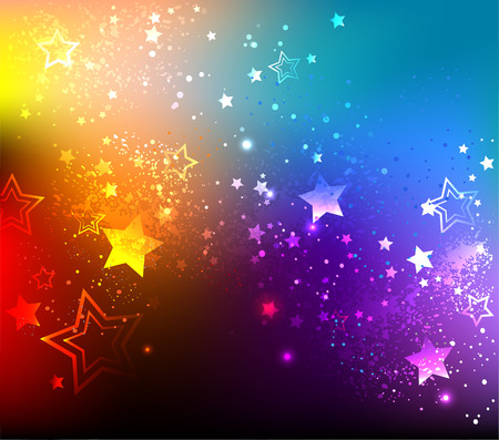 Illustration for rainbow background with colorful stars. - Royalty Free Image