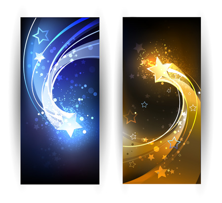 Illustration for two horizontal banner with blue and gold comet. - Royalty Free Image