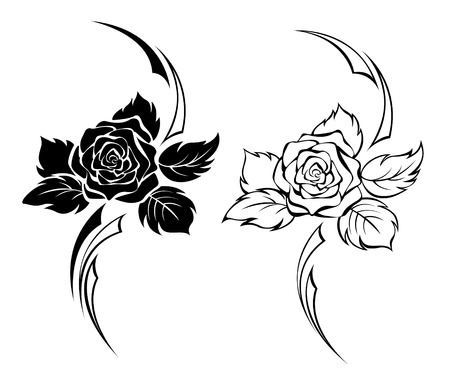 Illustration for Two monochrome roses for tattoo - Royalty Free Image