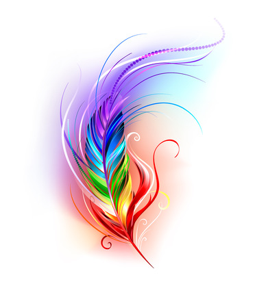 Illustration pour artistically painted rainbow feather on a white background. - image libre de droit