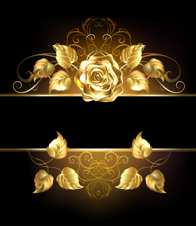 Illustrazione per Rectangular banner with luxurious golden rose on black background. - Immagini Royalty Free