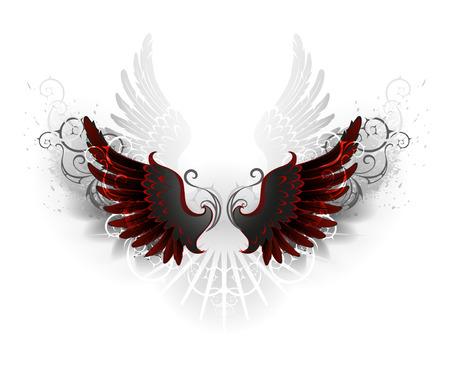 Ilustración de black wings , decorated with a pattern on a white background - Imagen libre de derechos