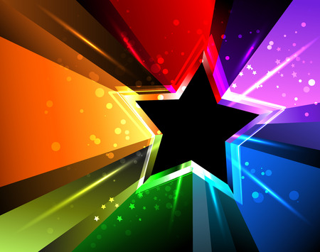 Illustration for black star with rainbow rays and bright sparks - Royalty Free Image