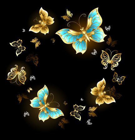 Illustration pour Round dance of gold and brass butterflies with shiny wings on a black background - image libre de droit