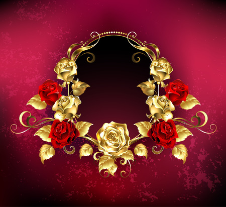 Illustration for red Oval banner with gold frame decorated with gold and red roses on red background. - Royalty Free Image