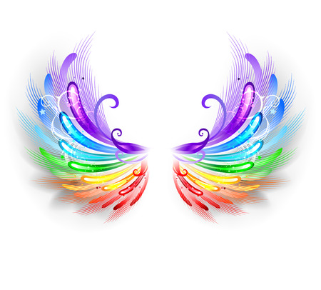 Illustration for fluffy rainbow wings on a white background. - Royalty Free Image