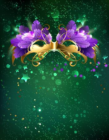 Illustration pour Mardi Gras mask of purple  feathers on a green background. - image libre de droit