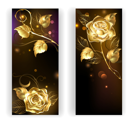 Illustration pour two banners with gold, entwined roses on a black background - image libre de droit