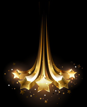 Illustration for five comets glittering gold on a black background. - Royalty Free Image